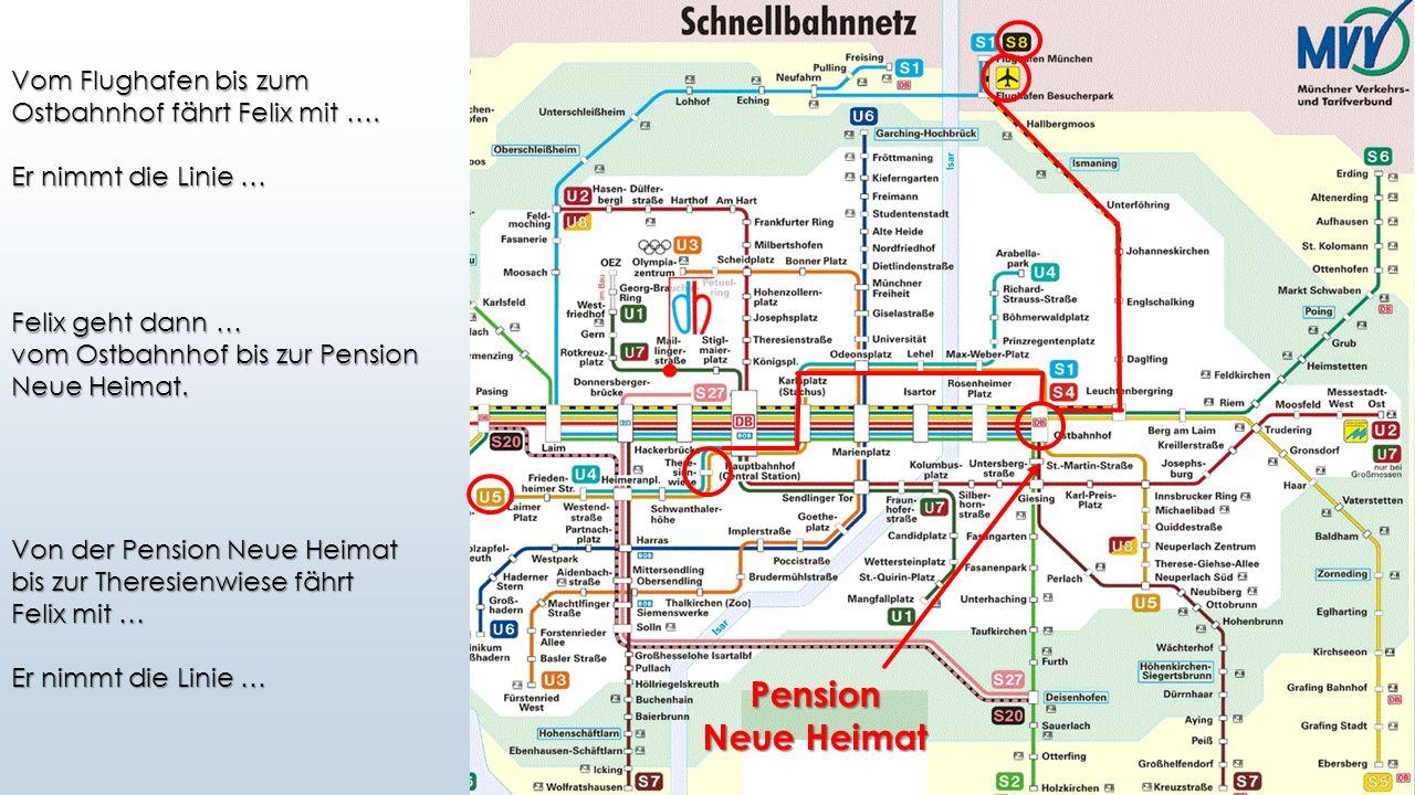 Pension Vom Flughafen bis zum Ostbahnhof fährt Felix mit …. Er nimmt die Linie … Felix geht dann … vom Ostbahnhof bis zur Pension Neue Heimat. Von der