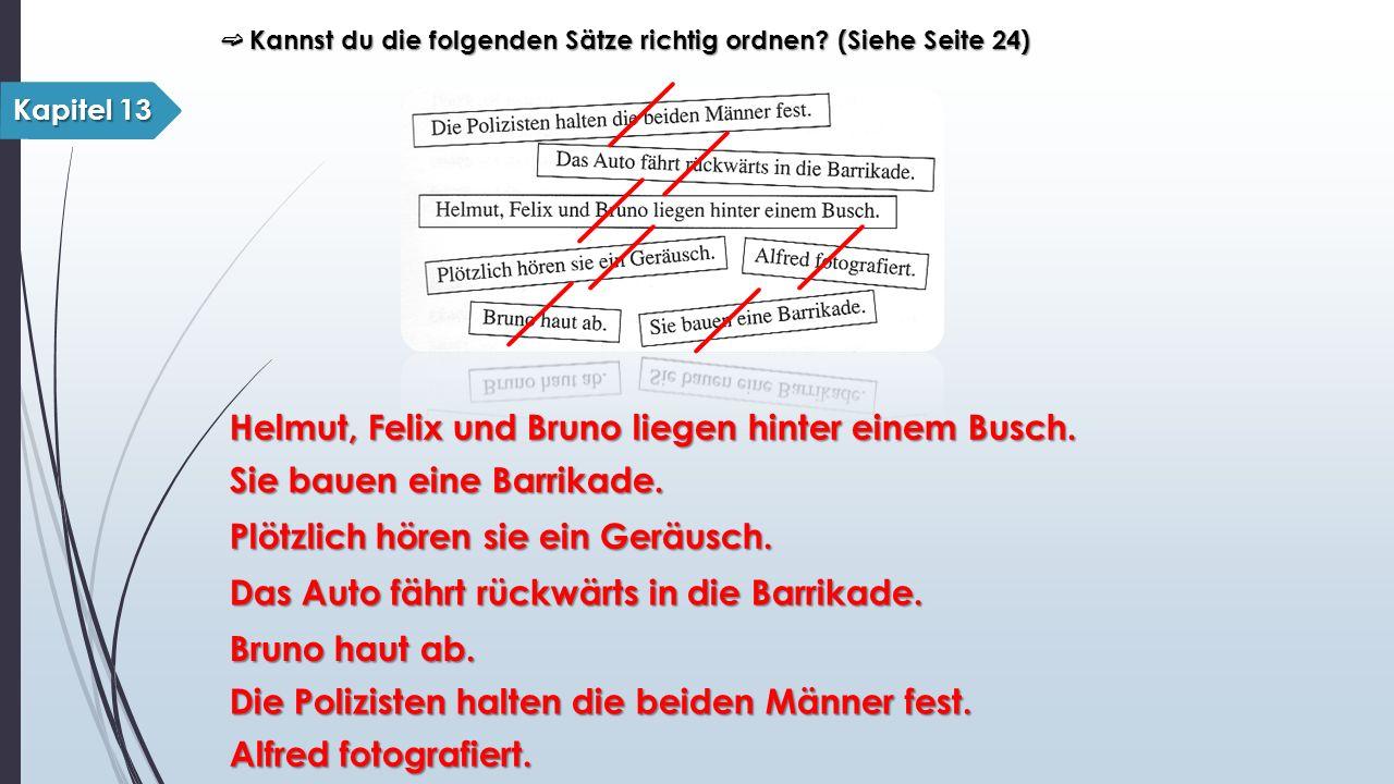 Kapitel 13 ➫ Kannst du die folgenden Sätze richtig ordnen? (Siehe Seite 24) Helmut, Felix und Bruno liegen hinter einem Busch. Sie bauen eine Barrikad