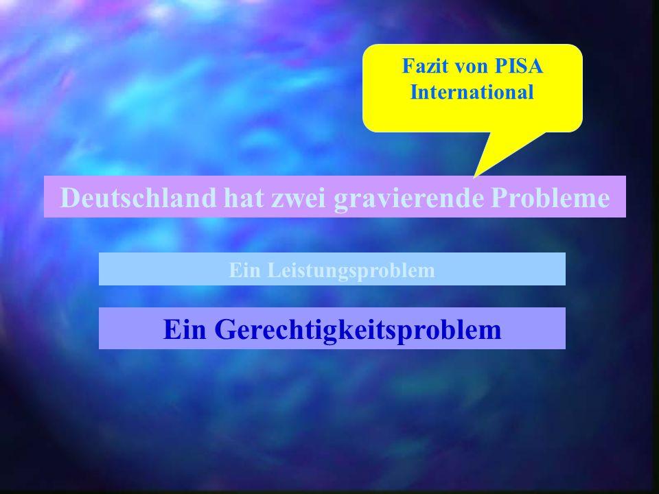 Deutschland hat zwei gravierende Probleme Ein Leistungsproblem Ein Gerechtigkeitsproblem Fazit von PISA International