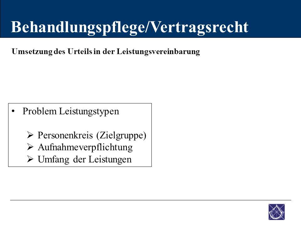 Umsetzung des Urteils in der Leistungsvereinbarung Behandlungspflege/Vertragsrecht Problem Leistungstypen  Personenkreis (Zielgruppe)  Aufnahmeverpf