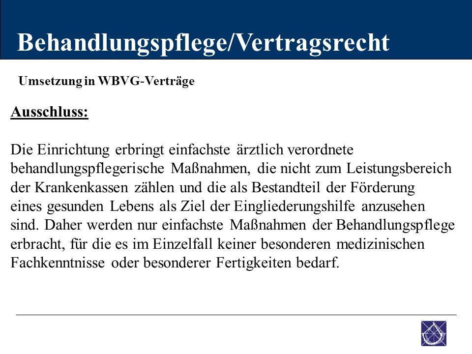 Umsetzung in WBVG-Verträge Behandlungspflege/Vertragsrecht Ausschluss: Die Einrichtung erbringt einfachste ärztlich verordnete behandlungspflegerische
