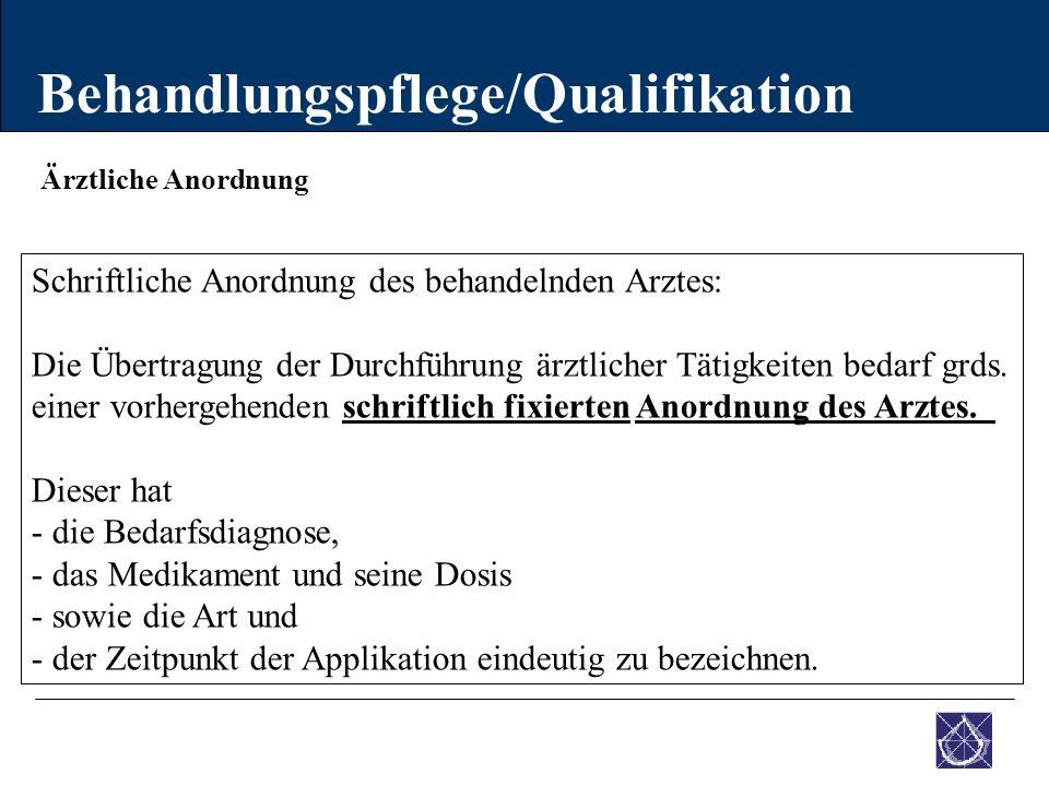 Ärztliche Anordnung Behandlungspflege/Qualifikation Schriftliche Anordnung des behandelnden Arztes: Die Übertragung der Durchführung ärztlicher Tätigk