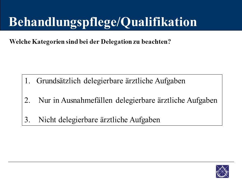 Welche Kategorien sind bei der Delegation zu beachten? Behandlungspflege/Qualifikation 1.Grundsätzlich delegierbare ärztliche Aufgaben 2. Nur in Ausna