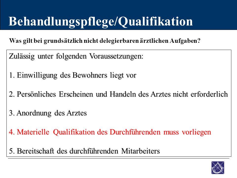 Was gilt bei grundsätzlich nicht delegierbaren ärztlichen Aufgaben? Behandlungspflege/Qualifikation Zulässig unter folgenden Voraussetzungen: 1. Einwi