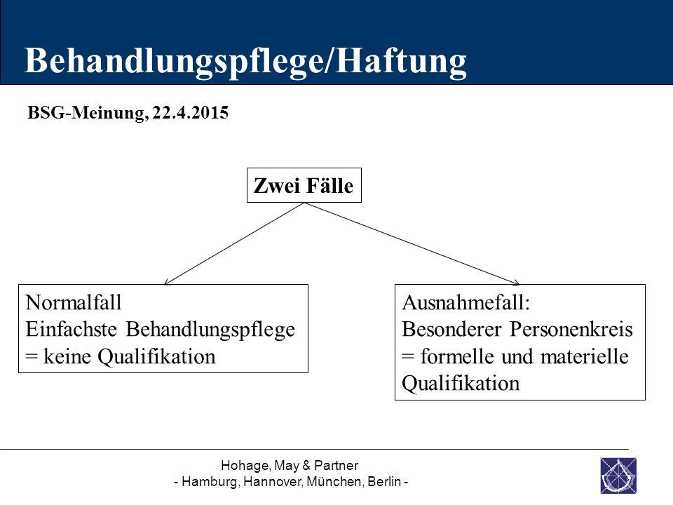Hohage, May & Partner - Hamburg, Hannover, München, Berlin - BSG-Meinung, 22.4.2015 Behandlungspflege/Haftung Zwei Fälle Normalfall Einfachste Behandl