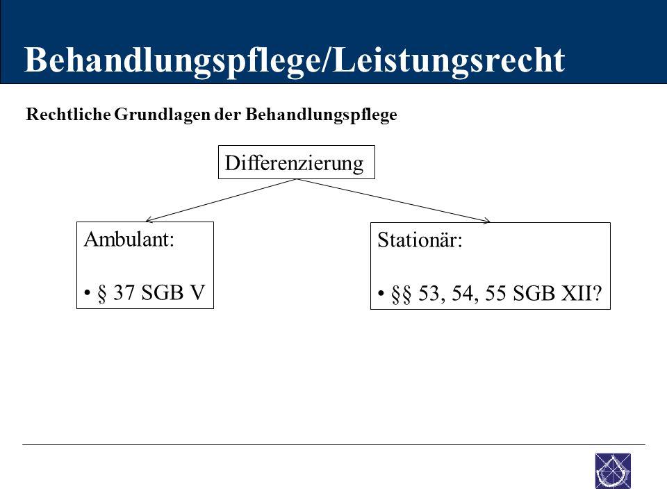 Rechtliche Grundlagen der Behandlungspflege Behandlungspflege/Leistungsrecht Ambulant: § 37 SGB V Stationär: §§ 53, 54, 55 SGB XII? Differenzierung