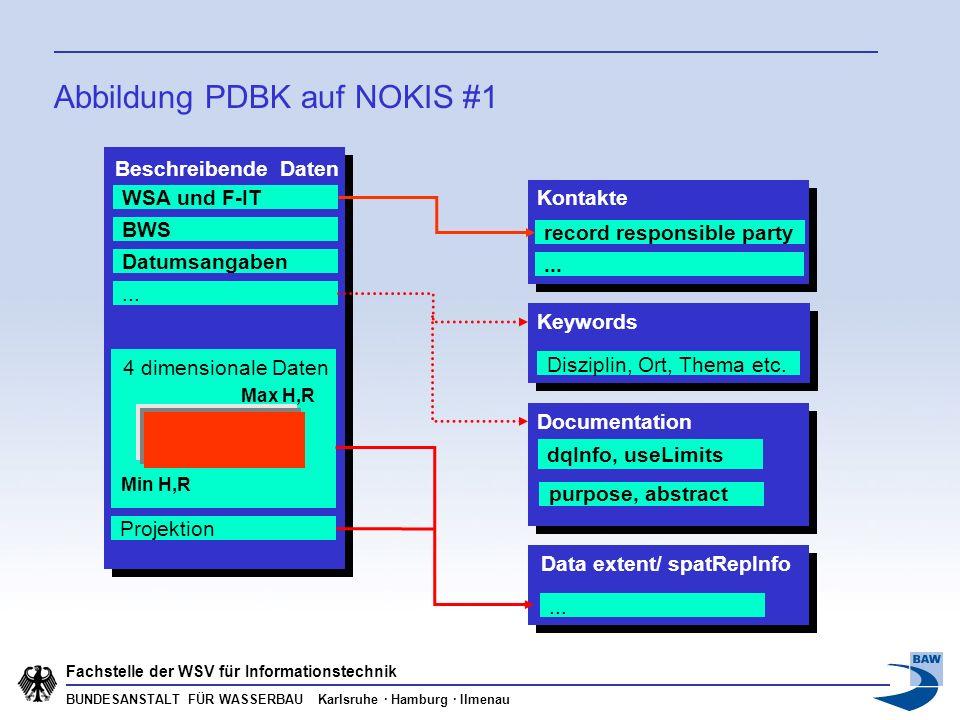 BUNDESANSTALT FÜR WASSERBAU Karlsruhe · Hamburg · Ilmenau Fachstelle der WSV für Informationstechnik Abbildung PDBK auf NOKIS #1 Beschreibende Daten W