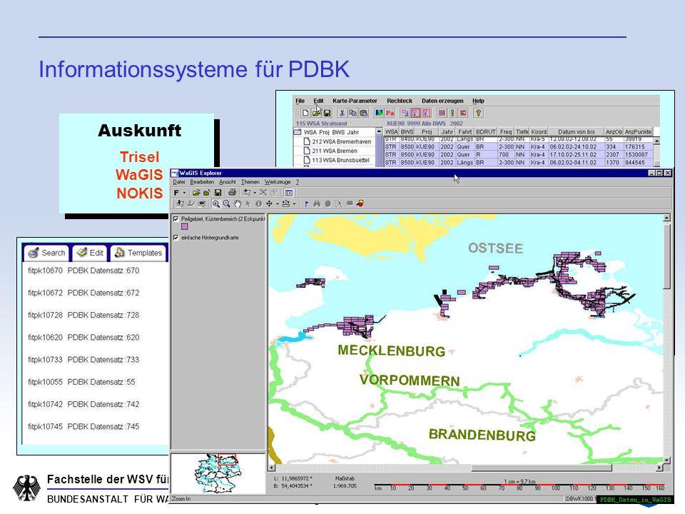 BUNDESANSTALT FÜR WASSERBAU Karlsruhe · Hamburg · Ilmenau Fachstelle der WSV für Informationstechnik PDBK: Ausblick Erweiterung der PDBK um neues Datenformat Fächerlotdaten Anpassung Datenmodell (fachspezifische Metadaten, Protokolle) Anpassung der Informationssysteme (z.B.