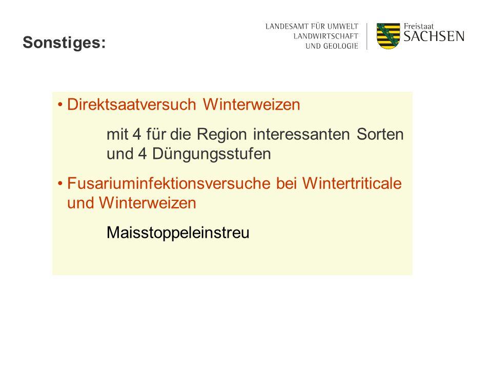 Sonstiges: Direktsaatversuch Winterweizen mit 4 für die Region interessanten Sorten und 4 Düngungsstufen Fusariuminfektionsversuche bei Wintertritical