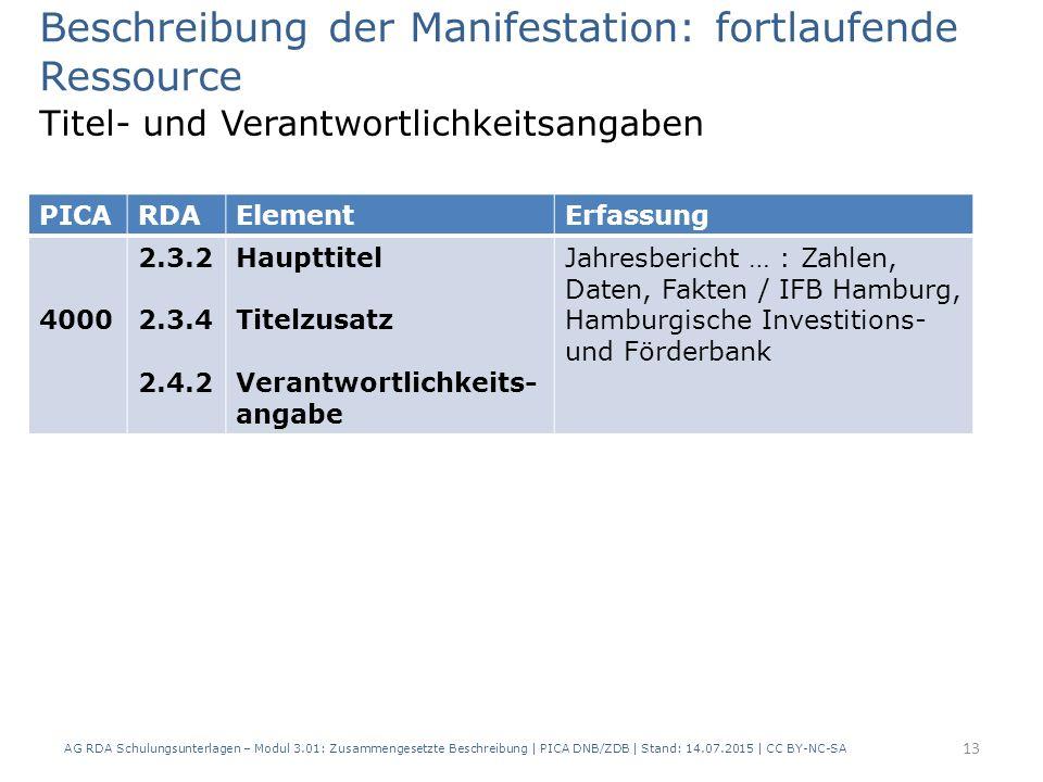 Beschreibung der Manifestation: fortlaufende Ressource Titel- und Verantwortlichkeitsangaben PICARDAElementErfassung 4000 2.3.2 2.3.4 2.4.2 Haupttitel Titelzusatz Verantwortlichkeits- angabe Jahresbericht … : Zahlen, Daten, Fakten / IFB Hamburg, Hamburgische Investitions- und Förderbank 13 AG RDA Schulungsunterlagen – Modul 3.01: Zusammengesetzte Beschreibung | PICA DNB/ZDB | Stand: 14.07.2015 | CC BY-NC-SA