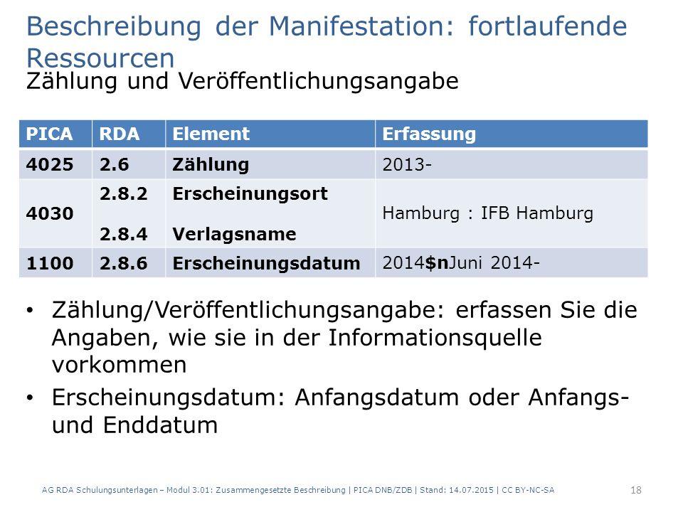 Beschreibung der Manifestation: fortlaufende Ressourcen Zählung und Veröffentlichungsangabe Zählung/Veröffentlichungsangabe: erfassen Sie die Angaben, wie sie in der Informationsquelle vorkommen Erscheinungsdatum: Anfangsdatum oder Anfangs- und Enddatum PICARDAElementErfassung 40252.6Zählung2013- 4030 2.8.2 2.8.4 Erscheinungsort Verlagsname Hamburg : IFB Hamburg 11002.8.6Erscheinungsdatum2014$nJuni 2014- 18 AG RDA Schulungsunterlagen – Modul 3.01: Zusammengesetzte Beschreibung | PICA DNB/ZDB | Stand: 14.07.2015 | CC BY-NC-SA