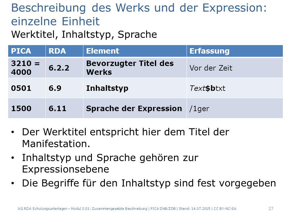 Beschreibung des Werks und der Expression: einzelne Einheit Werktitel, Inhaltstyp, Sprache Der Werktitel entspricht hier dem Titel der Manifestation.