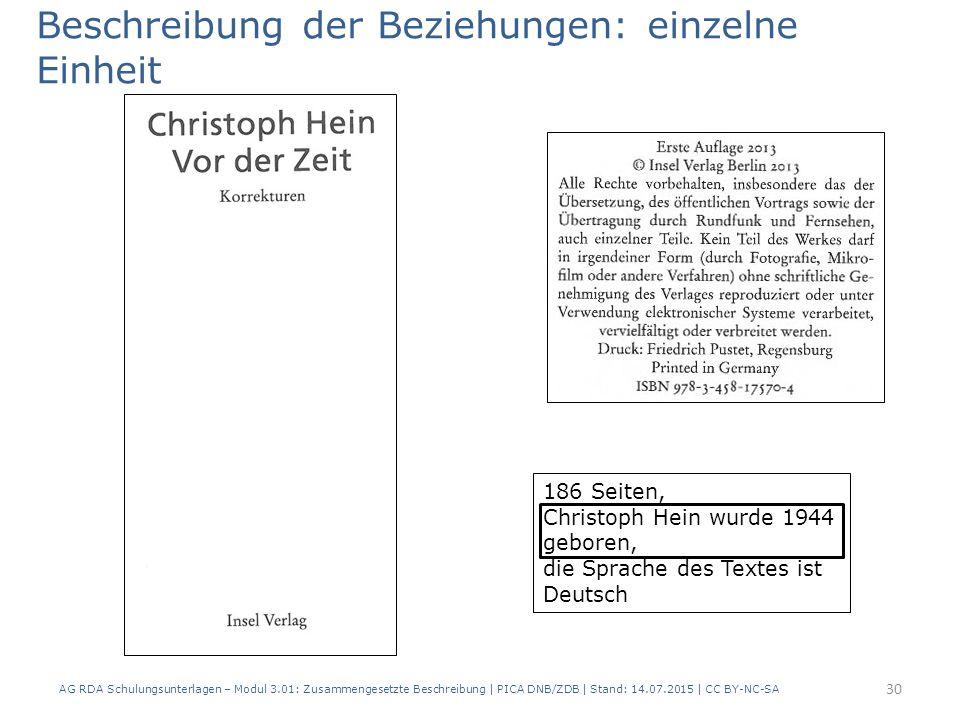 186 Seiten, Christoph Hein wurde 1944 geboren, die Sprache des Textes ist Deutsch Beschreibung der Beziehungen: einzelne Einheit 30 AG RDA Schulungsunterlagen – Modul 3.01: Zusammengesetzte Beschreibung | PICA DNB/ZDB | Stand: 14.07.2015 | CC BY-NC-SA