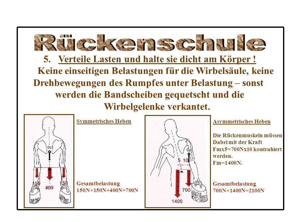 4.Hebe keine schweren Gegenstände ! Der Rückenpatient sollte keine schweren Gegenstände heben. Ansonsten gilt: Körpernah tragen und heben, die Rumpfmu
