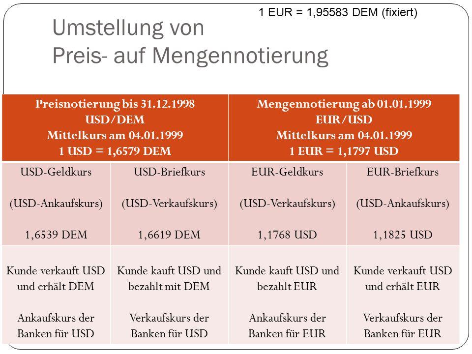 Umstellung von Preis- auf Mengennotierung Preisnotierung bis 31.12.1998 USD/DEM Mittelkurs am 04.01.1999 1 USD = 1,6579 DEM Mengennotierung ab 01.01.1