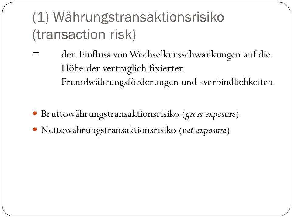 (1) Währungstransaktionsrisiko (transaction risk) = den Einfluss von Wechselkursschwankungen auf die Höhe der vertraglich fixierten Fremdwährungsförde