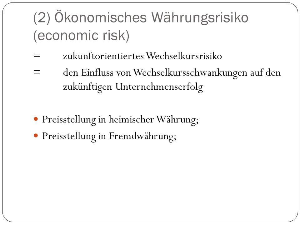(2) Ökonomisches Währungsrisiko (economic risk) = zukunftorientiertes Wechselkursrisiko = den Einfluss von Wechselkursschwankungen auf den zukünftigen
