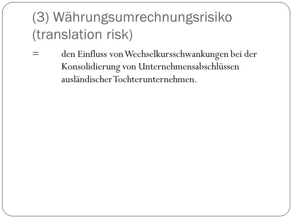 (3) Währungsumrechnungsrisiko (translation risk) =den Einfluss von Wechselkursschwankungen bei der Konsolidierung von Unternehmensabschlüssen ausländi