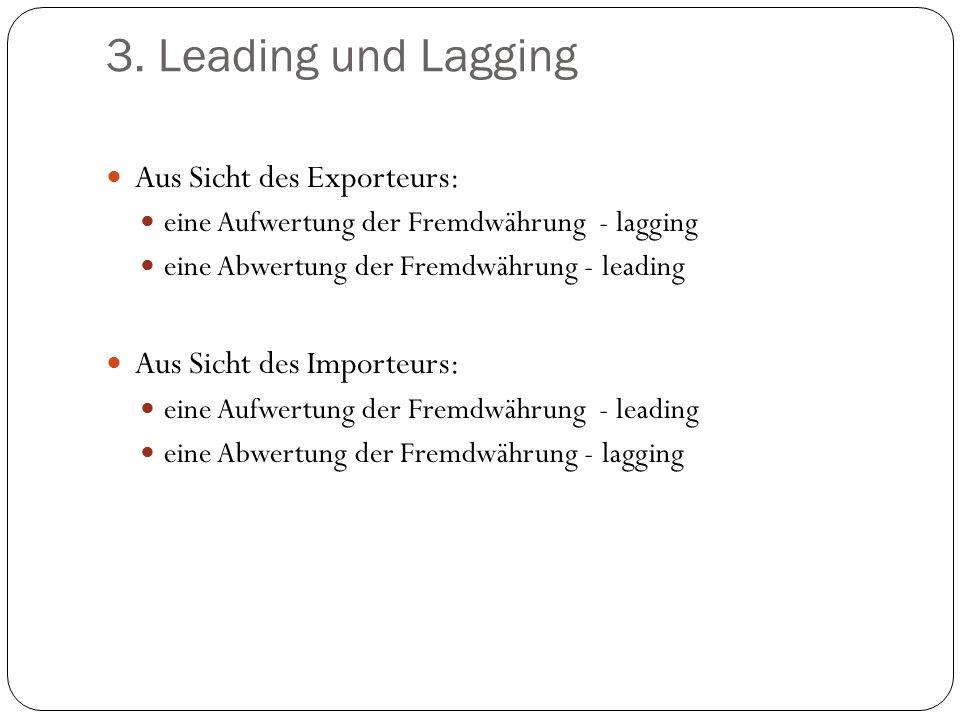 3. Leading und Lagging Aus Sicht des Exporteurs: eine Aufwertung der Fremdwährung - lagging eine Abwertung der Fremdwährung - leading Aus Sicht des Im