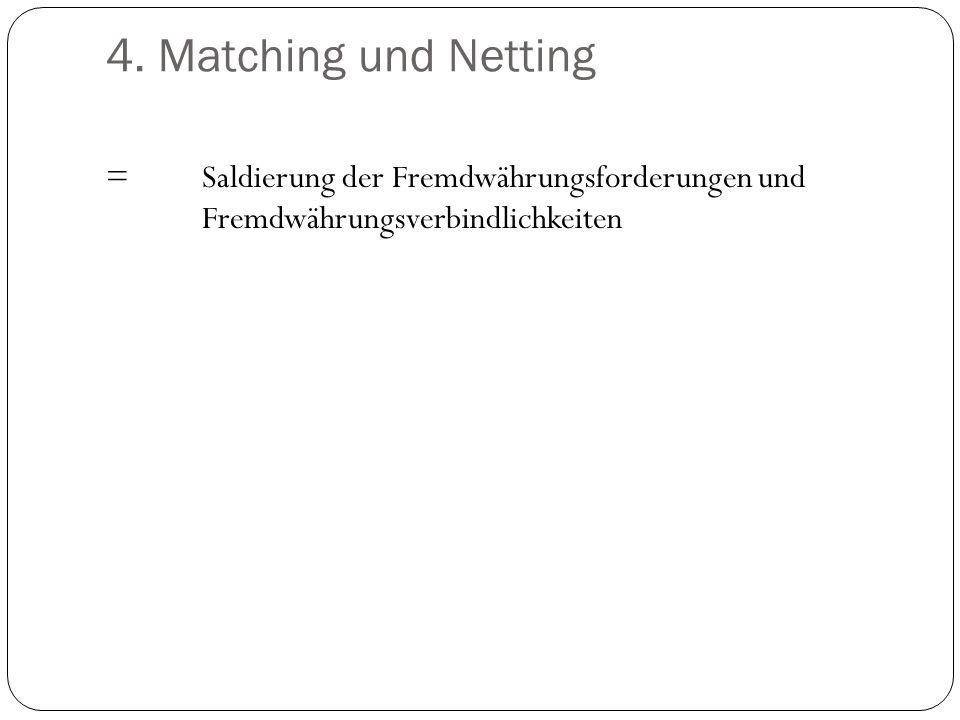 4. Matching und Netting =Saldierung der Fremdwährungsforderungen und Fremdwährungsverbindlichkeiten