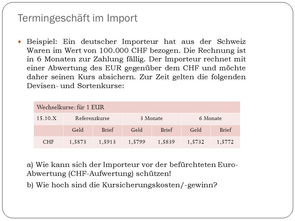 Termingeschäft im Import Beispiel: Ein deutscher Importeur hat aus der Schweiz Waren im Wert von 100.000 CHF bezogen. Die Rechnung ist in 6 Monaten zu