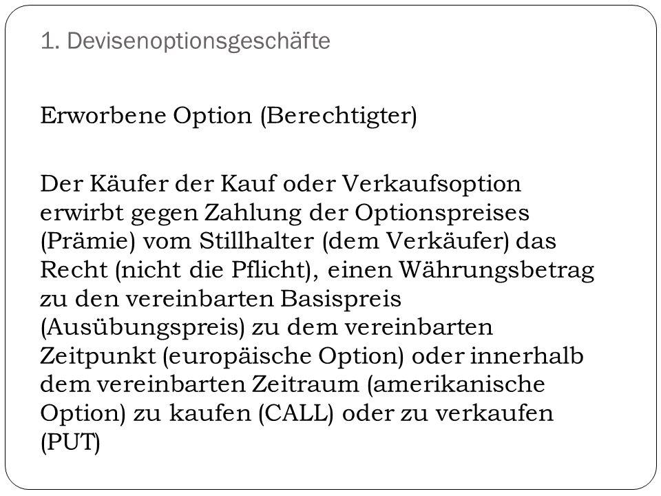 Erworbene Option (Berechtigter) Der Käufer der Kauf oder Verkaufsoption erwirbt gegen Zahlung der Optionspreises (Prämie) vom Stillhalter (dem Verkäuf