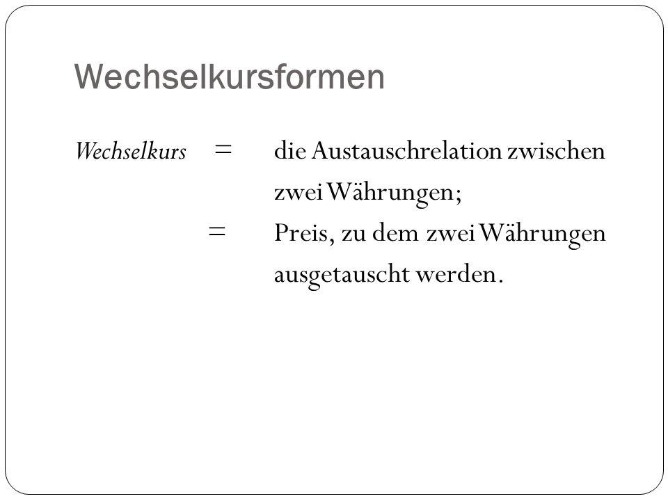 Wechselkursformen Wechselkurs =die Austauschrelation zwischen zwei Währungen; =Preis, zu dem zwei Währungen ausgetauscht werden.