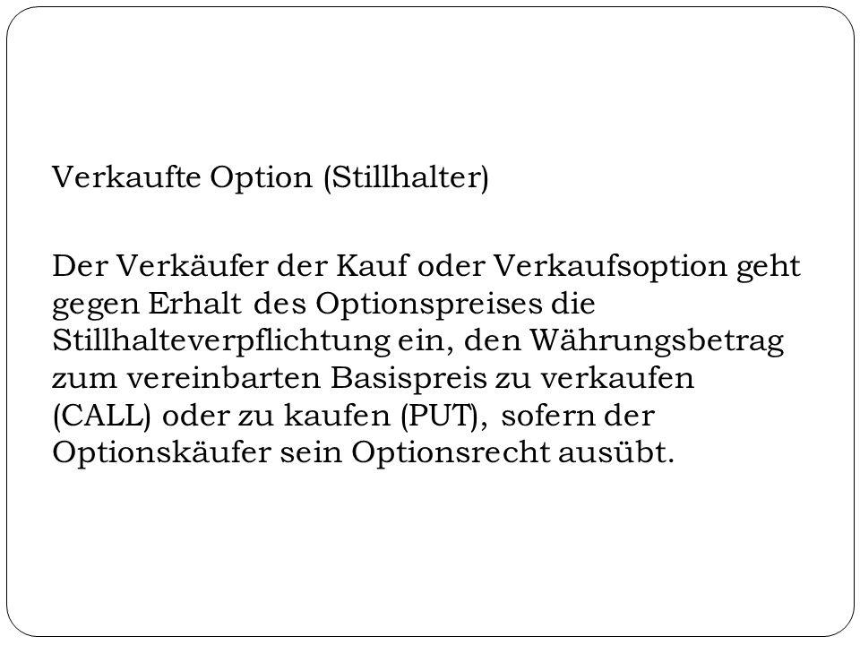 Verkaufte Option (Stillhalter) Der Verkäufer der Kauf oder Verkaufsoption geht gegen Erhalt des Optionspreises die Stillhalteverpflichtung ein, den Wä