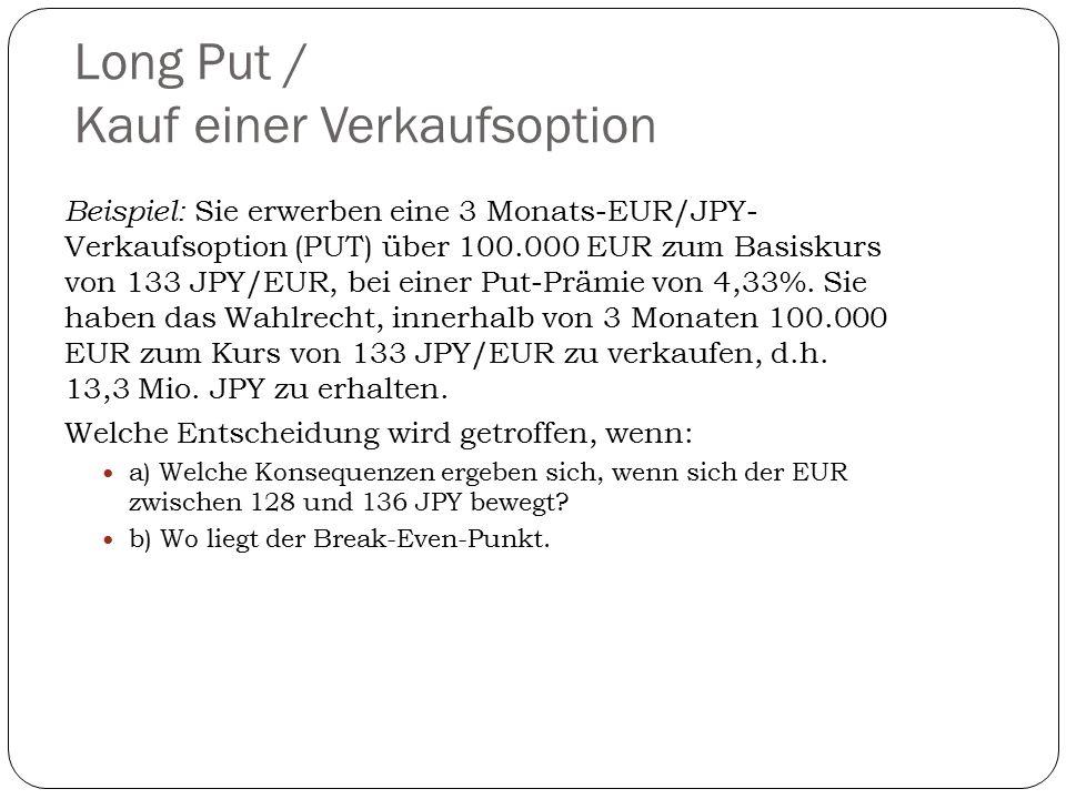 Long Put / Kauf einer Verkaufsoption Beispiel: Sie erwerben eine 3 Monats-EUR/JPY- Verkaufsoption (PUT) über 100.000 EUR zum Basiskurs von 133 JPY/EUR