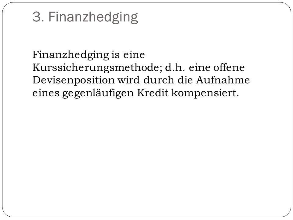3. Finanzhedging Finanzhedging is eine Kurssicherungsmethode; d.h. eine offene Devisenposition wird durch die Aufnahme eines gegenläufigen Kredit komp
