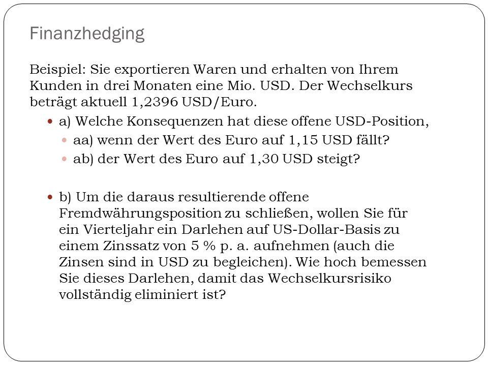 Finanzhedging Beispiel: Sie exportieren Waren und erhalten von Ihrem Kunden in drei Monaten eine Mio. USD. Der Wechselkurs beträgt aktuell 1,2396 USD/