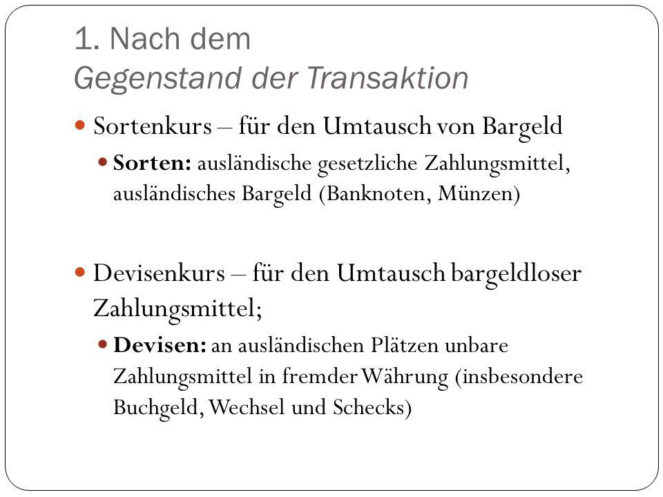 1. Nach dem Gegenstand der Transaktion Sortenkurs – für den Umtausch von Bargeld Sorten: ausländische gesetzliche Zahlungsmittel, ausländisches Bargel