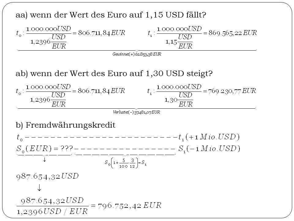 aa) wenn der Wert des Euro auf 1,15 USD fällt? ab) wenn der Wert des Euro auf 1,30 USD steigt? b) Fremdwährungskredit