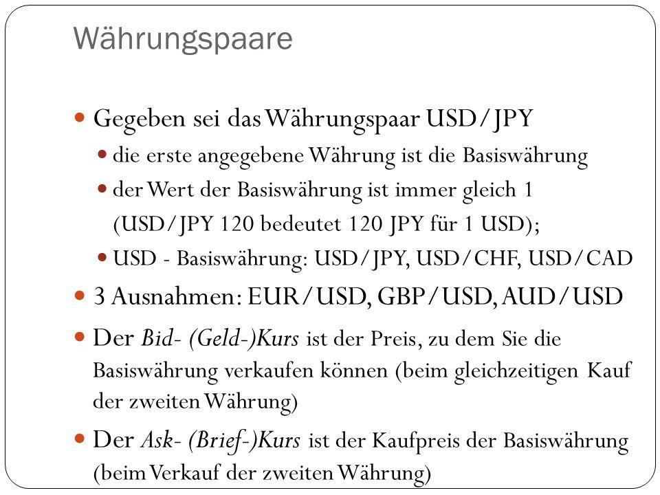 Währungspaare Gegeben sei das Währungspaar USD/JPY die erste angegebene Währung ist die Basiswährung der Wert der Basiswährung ist immer gleich 1 (USD