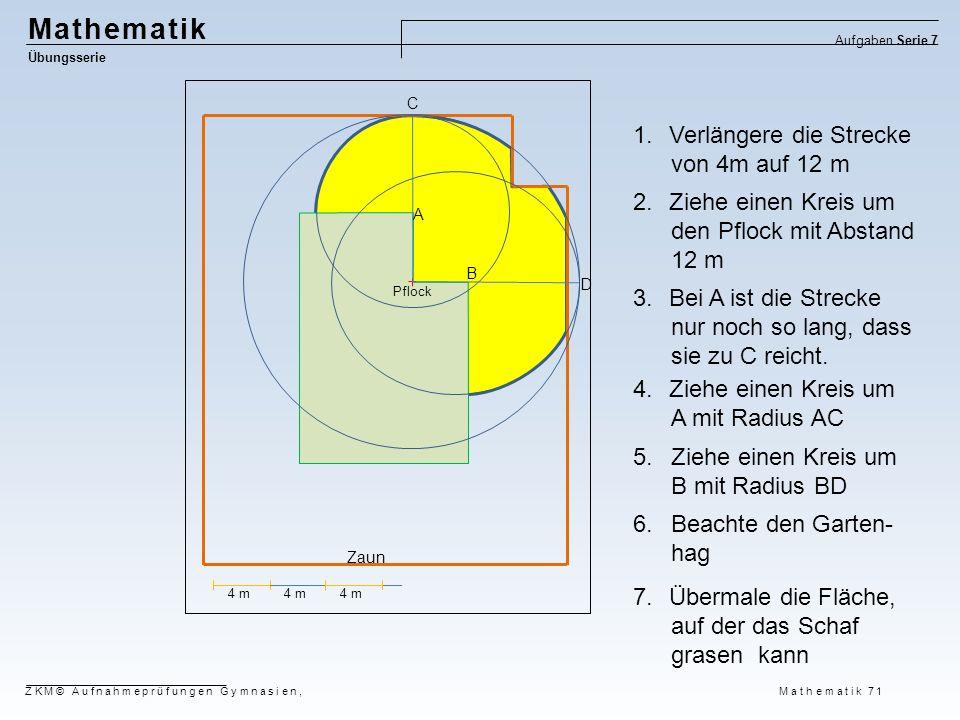 Mathematik Übungsserie Aufgaben Serie 7 ZKM© Aufnahmeprüfungen Gymnasien, Mathematik 71 4 m Pflock 4 m A B 1.Verlängere die Strecke von 4m auf 12 m 2.