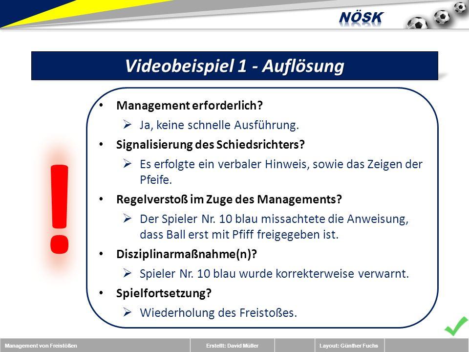 Management von FreistößenErstellt: David MüllerLayout: Günther Fuchs Videobeispiel 1 - Auflösung Management erforderlich.