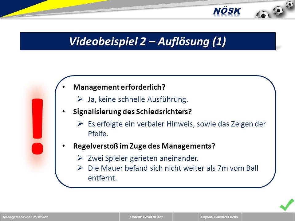 Management von FreistößenErstellt: David MüllerLayout: Günther Fuchs Videobeispiel 2 – Auflösung (1) Management erforderlich.