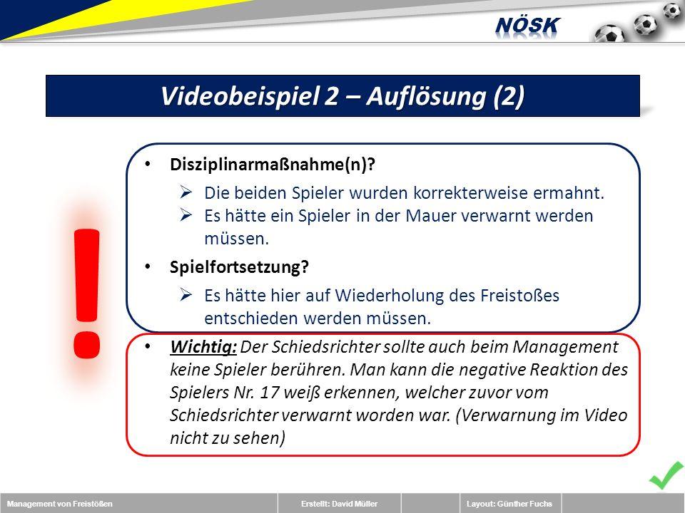 Management von FreistößenErstellt: David MüllerLayout: Günther Fuchs Videobeispiel 2 – Auflösung (2) Disziplinarmaßnahme(n).