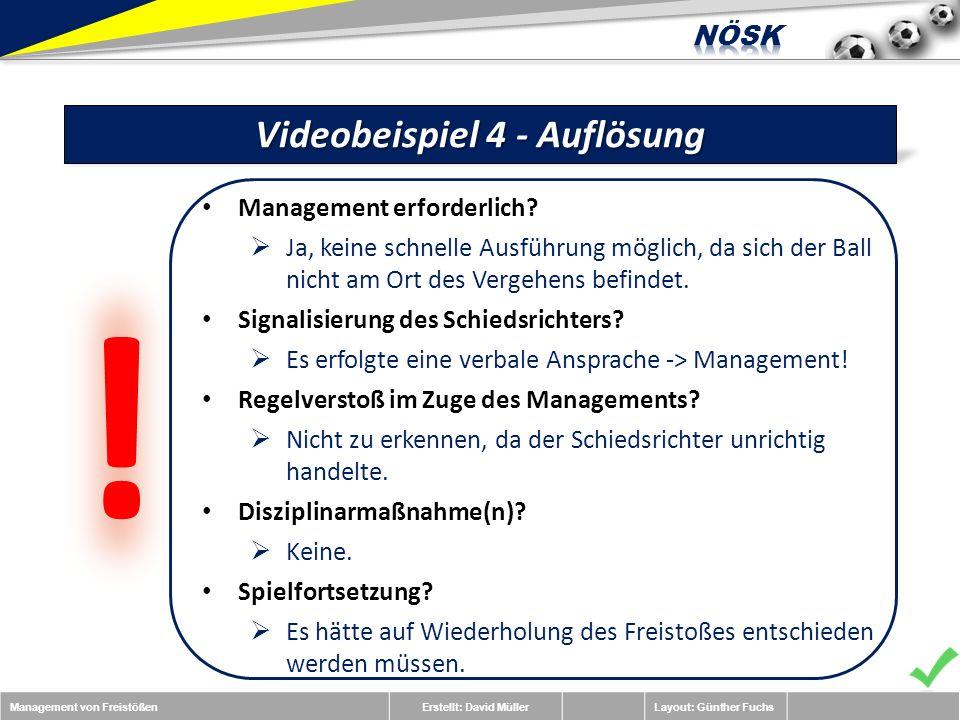 Management von FreistößenErstellt: David MüllerLayout: Günther Fuchs Videobeispiel 4 - Auflösung Management erforderlich.