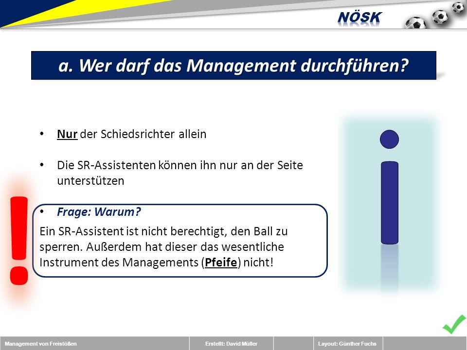 Management von FreistößenErstellt: David MüllerLayout: Günther Fuchs a.