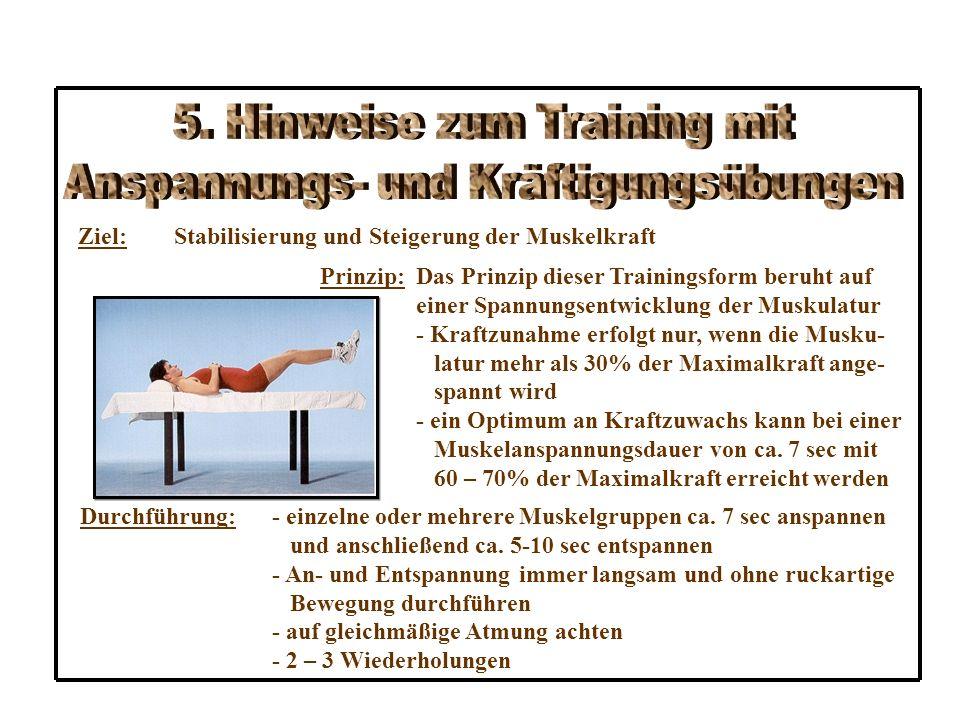 Ziel:Stabilisierung und Steigerung der Muskelkraft Prinzip:Das Prinzip dieser Trainingsform beruht auf einer Spannungsentwicklung der Muskulatur - Kraftzunahme erfolgt nur, wenn die Musku- latur mehr als 30% der Maximalkraft ange- spannt wird - ein Optimum an Kraftzuwachs kann bei einer Muskelanspannungsdauer von ca.