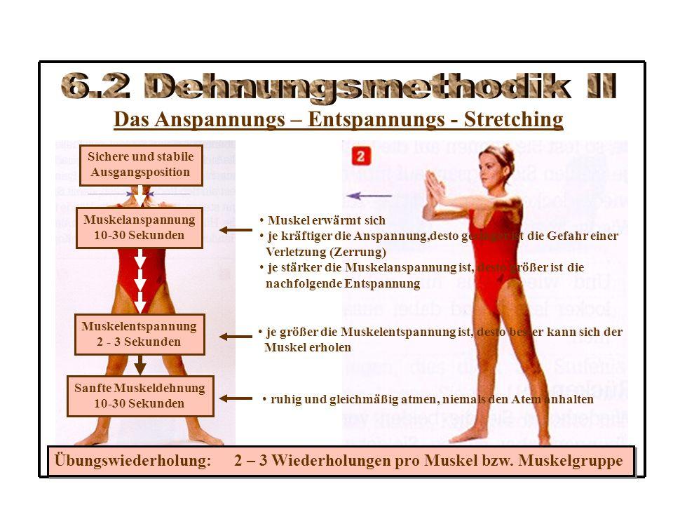Das Anspannungs – Entspannungs - Stretching Sichere und stabile Ausgangsposition Muskelanspannung 10-30 Sekunden Muskelentspannung 2 - 3 Sekunden Sanfte Muskeldehnung 10-30 Sekunden Muskel erwärmt sich je kräftiger die Anspannung,desto geringer ist die Gefahr einer Verletzung (Zerrung) je stärker die Muskelanspannung ist, desto größer ist die nachfolgende Entspannung je größer die Muskelentspannung ist, desto besser kann sich der Muskel erholen ruhig und gleichmäßig atmen, niemals den Atem anhalten Übungswiederholung: 2 – 3 Wiederholungen pro Muskel bzw.