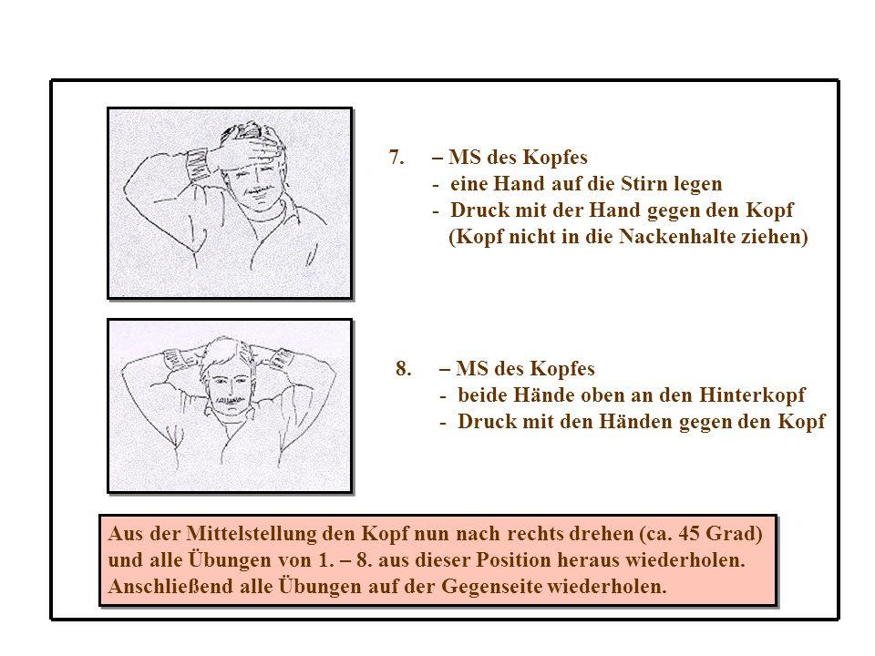 7.– MS des Kopfes - eine Hand auf die Stirn legen - Druck mit der Hand gegen den Kopf (Kopf nicht in die Nackenhalte ziehen) 8.– MS des Kopfes - beide Hände oben an den Hinterkopf - Druck mit den Händen gegen den Kopf Aus der Mittelstellung den Kopf nun nach rechts drehen (ca.