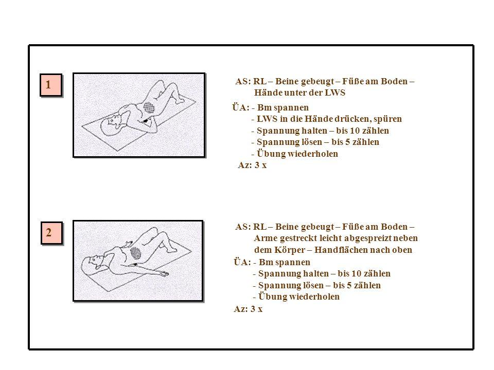 AS: RL – Beine gebeugt – Füße am Boden – Hände unter der LWS ÜA: - Bm spannen - LWS in die Hände drücken, spüren - Spannung halten – bis 10 zählen - Spannung lösen – bis 5 zählen - Übung wiederholen Az: 3 x AS: RL – Beine gebeugt – Füße am Boden – Arme gestreckt leicht abgespreizt neben dem Körper – Handflächen nach oben ÜA: - Bm spannen - Spannung halten – bis 10 zählen - Spannung lösen – bis 5 zählen - Übung wiederholen Az: 3 x 1 1 2 2
