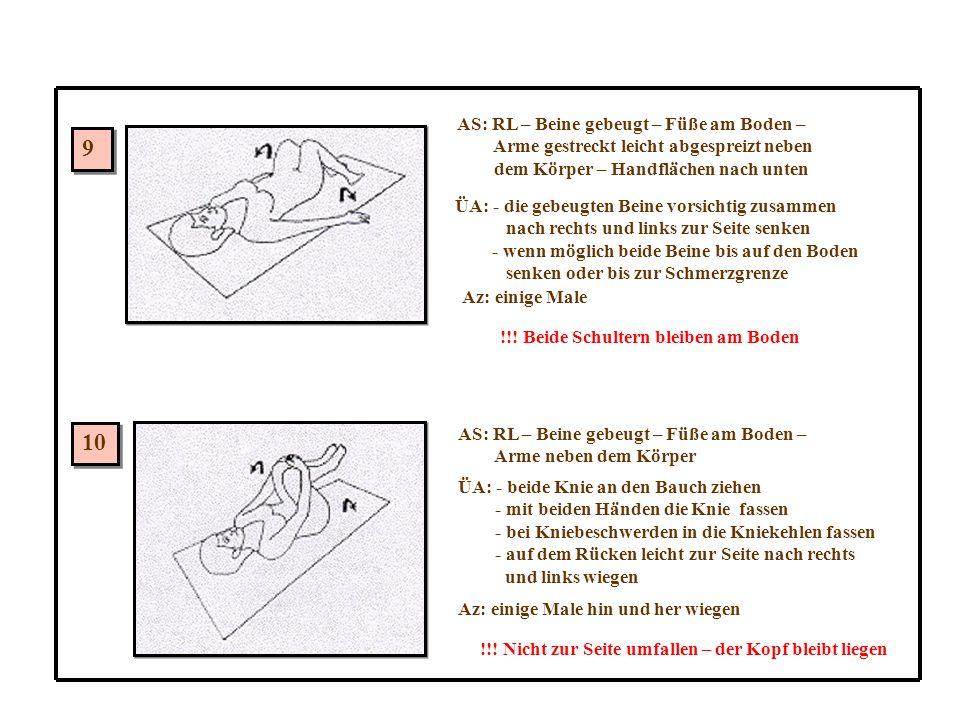 9 9 10 AS: RL – Beine gebeugt – Füße am Boden – Arme gestreckt leicht abgespreizt neben dem Körper – Handflächen nach unten ÜA: - die gebeugten Beine vorsichtig zusammen nach rechts und links zur Seite senken - wenn möglich beide Beine bis auf den Boden senken oder bis zur Schmerzgrenze Az: einige Male !!.