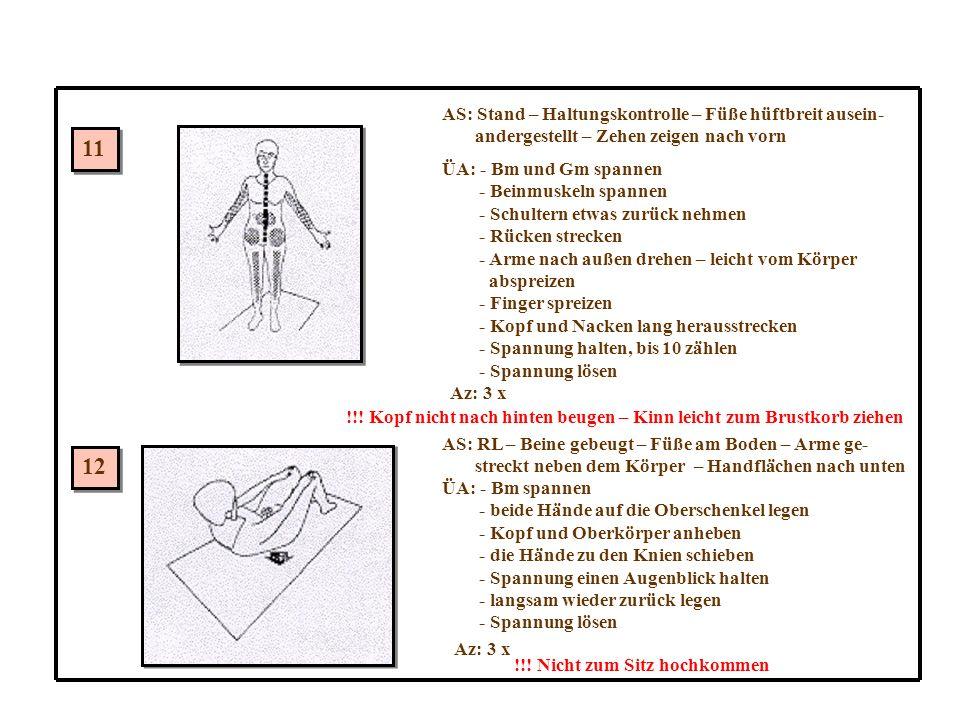 11 12 AS: Stand – Haltungskontrolle – Füße hüftbreit ausein- andergestellt – Zehen zeigen nach vorn ÜA: - Bm und Gm spannen - Beinmuskeln spannen - Schultern etwas zurück nehmen - Rücken strecken - Arme nach außen drehen – leicht vom Körper abspreizen - Finger spreizen - Kopf und Nacken lang herausstrecken - Spannung halten, bis 10 zählen - Spannung lösen Az: 3 x !!.