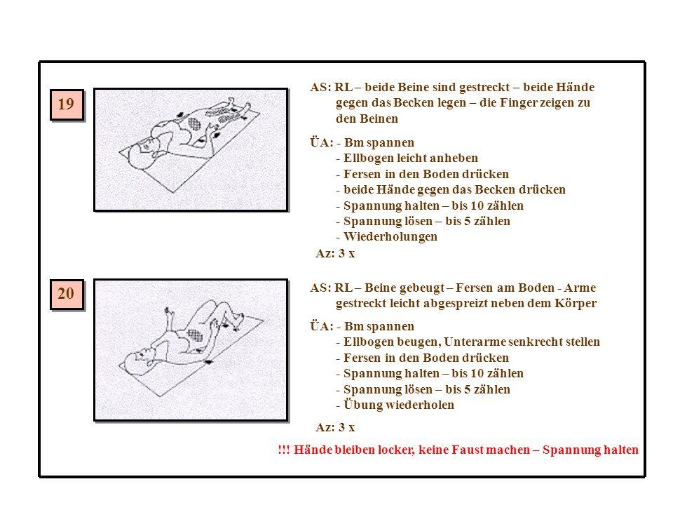 19 20 AS: RL – beide Beine sind gestreckt – beide Hände gegen das Becken legen – die Finger zeigen zu den Beinen ÜA: - Bm spannen - Ellbogen leicht anheben - Fersen in den Boden drücken - beide Hände gegen das Becken drücken - Spannung halten – bis 10 zählen - Spannung lösen – bis 5 zählen - Wiederholungen Az: 3 x AS: RL – Beine gebeugt – Fersen am Boden - Arme gestreckt leicht abgespreizt neben dem Körper ÜA: - Bm spannen - Ellbogen beugen, Unterarme senkrecht stellen - Fersen in den Boden drücken - Spannung halten – bis 10 zählen - Spannung lösen – bis 5 zählen - Übung wiederholen Az: 3 x !!.