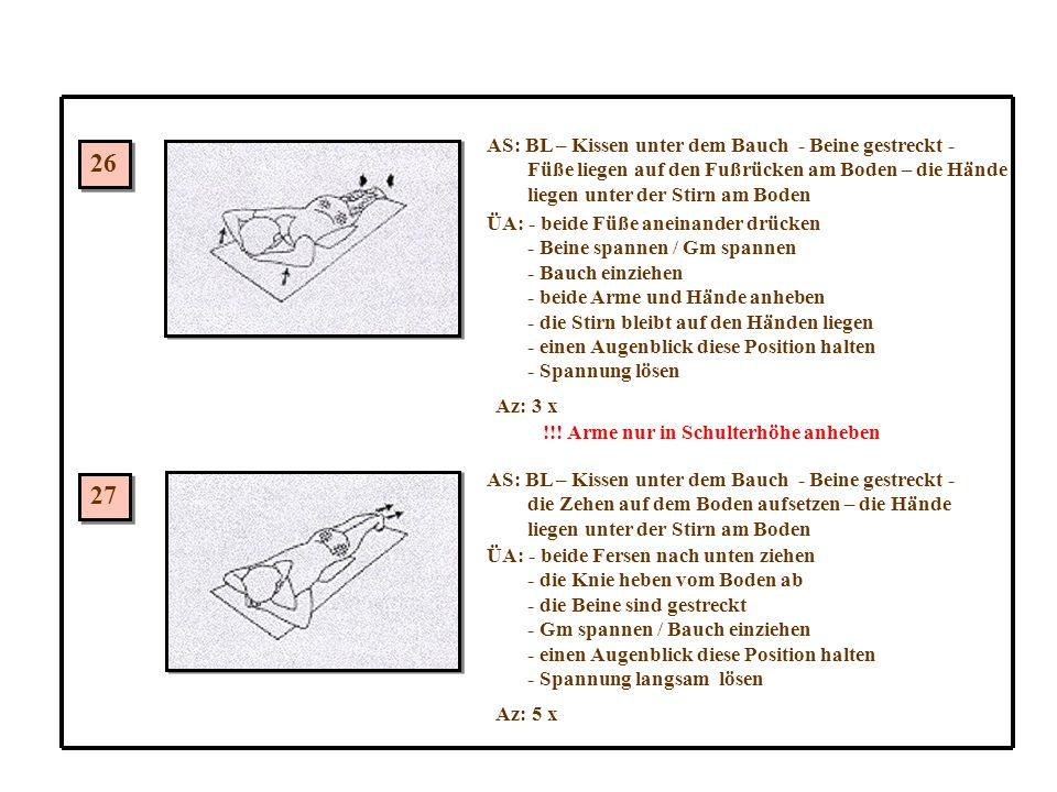 26 27 AS: BL – Kissen unter dem Bauch - Beine gestreckt - Füße liegen auf den Fußrücken am Boden – die Hände liegen unter der Stirn am Boden ÜA: - beide Füße aneinander drücken - Beine spannen / Gm spannen - Bauch einziehen - beide Arme und Hände anheben - die Stirn bleibt auf den Händen liegen - einen Augenblick diese Position halten - Spannung lösen Az: 3 x !!.