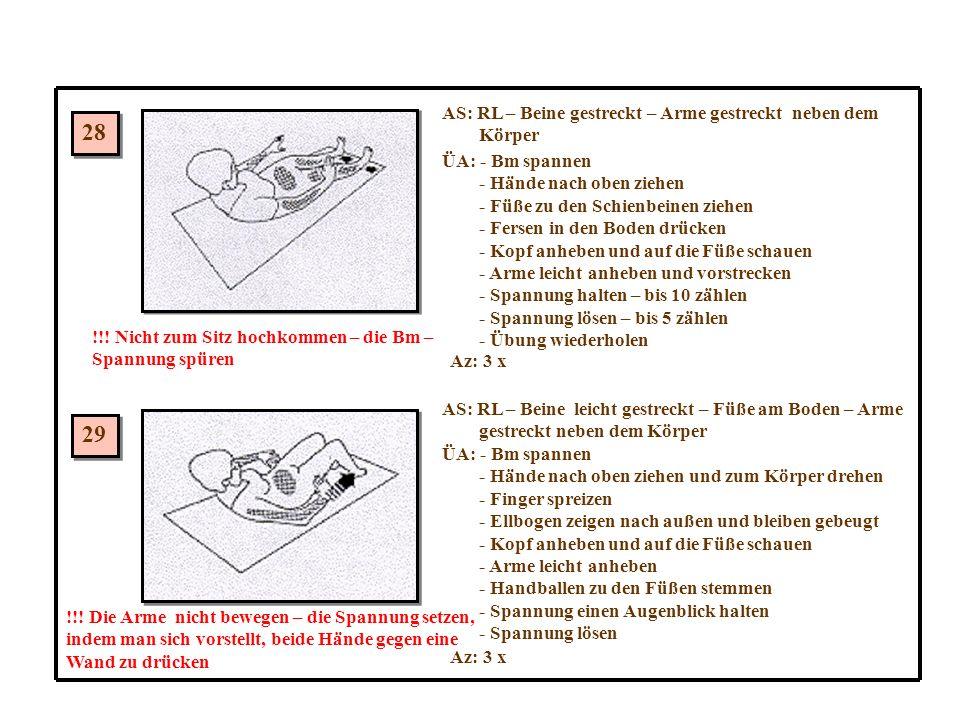 28 29 AS: RL – Beine gestreckt – Arme gestreckt neben dem Körper ÜA: - Bm spannen - Hände nach oben ziehen - Füße zu den Schienbeinen ziehen - Fersen in den Boden drücken - Kopf anheben und auf die Füße schauen - Arme leicht anheben und vorstrecken - Spannung halten – bis 10 zählen - Spannung lösen – bis 5 zählen - Übung wiederholen Az: 3 x !!.