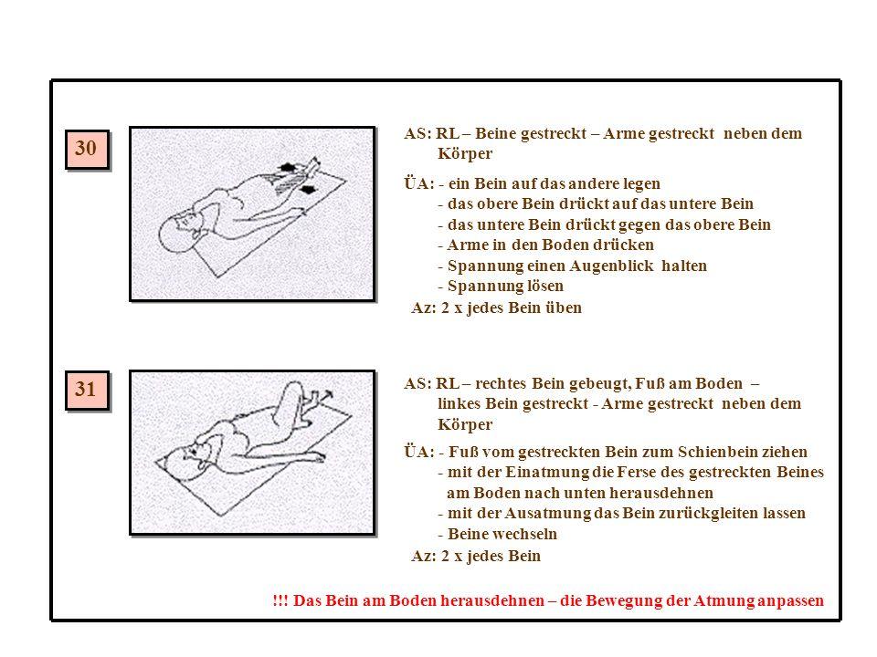 30 31 AS: RL – Beine gestreckt – Arme gestreckt neben dem Körper ÜA: - ein Bein auf das andere legen - das obere Bein drückt auf das untere Bein - das untere Bein drückt gegen das obere Bein - Arme in den Boden drücken - Spannung einen Augenblick halten - Spannung lösen Az: 2 x jedes Bein üben AS: RL – rechtes Bein gebeugt, Fuß am Boden – linkes Bein gestreckt - Arme gestreckt neben dem Körper ÜA: - Fuß vom gestreckten Bein zum Schienbein ziehen - mit der Einatmung die Ferse des gestreckten Beines am Boden nach unten herausdehnen - mit der Ausatmung das Bein zurückgleiten lassen - Beine wechseln Az: 2 x jedes Bein !!.
